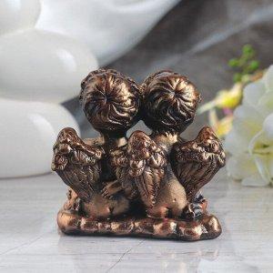 "Статуэтка ""Ангелы пара с букетом"", бронза, 13 см"