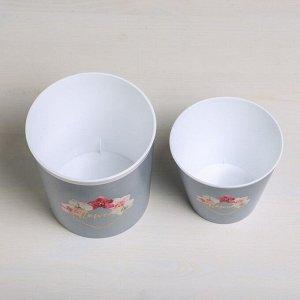 Набор кашпо 2 в 1 Flowers. тиснение. 0.8 и 1.6 л. 11 х 12 и 14 х 14 см