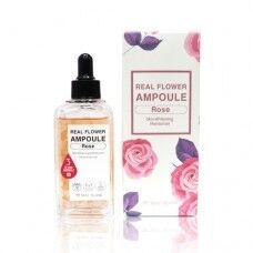 May Island Real Flower Ampoule Rose - Осветляющая и увлажняющая ампульная сыворотка с тающими лепестками розы 100 мл