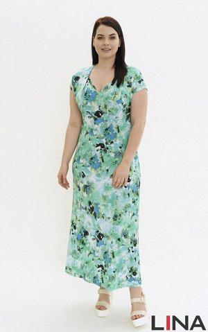 """Платье Внимание! Расположение рисунка может не совпадать с представленным на фото, ткань купонная. Женственное платье """"в пол"""" с короткими спущенными рукавами и глубоким фигурным вырезом горловины. Фас"""
