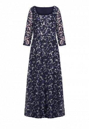 Длинное платье, вышитое пайетками, цвет темно-синий