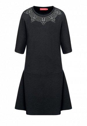 Трикотажное платье со стразами, цвет черный