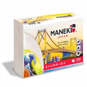 """Полотенца бумажные листовые однослойные """"Maneki"""" DREAM, белые, Z-сложения (230х225мм), 200 шт./упак"""