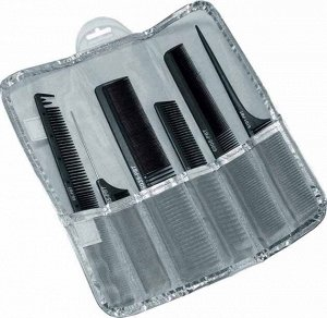 CO-6137PBT-SI Набор расчесок DEWAL карбон, в серебристом чехле, черный 6 шт.