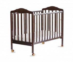 Кровать детская Березка (опуск. стенка, колеса, качалка, наклад. ПВХ, венге) 170118