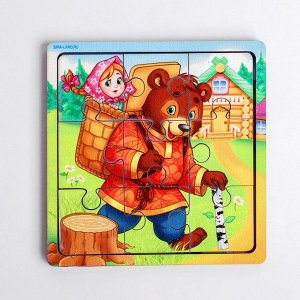 Пазл «Маша и медведь», 9 деталей