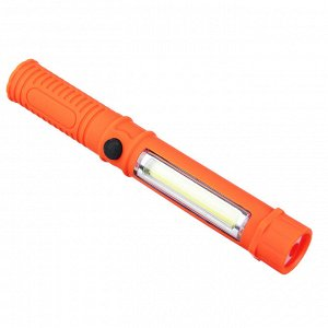ЧИНГИСХАН Фонарь, 1 COB + 1 LED, 3Вт + 1Вт, 3xAAA, 16см, резино-пластик, 2 режима