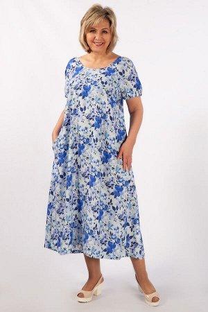 Платье цветы голубые, горчичный/синий,  Летнее, свободное платье с ярким  цветочным принтом. Выполнено в стиле «бохо» из вискозного штапеля. Длина макси. В боковых швах потайные карманы. Круглый вырез