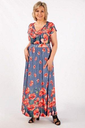 Платье Маки красные, маки зеленые, тюльпаны на голубом. Лёгкое летнее платье  с  ярким цветочным принтом ,  выполнено из струящегося трикотажного полотна. Модель с завышенной линией талии, сзади на ре