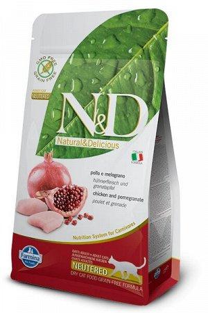 Farmina N&D Cat Prime Grain Free Neutered сухой беззерновой корм для стерилизованных кошек Курица/Гранат 1,5кг