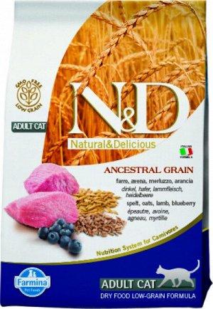 Farmina N&D AG Adult Cat Lamb & Blueberry сухой низкозерновой корм для кошек Спельта/Ягненок/Черника 1,5кг