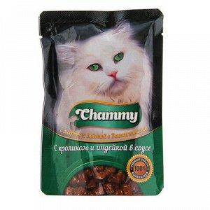 Chammy влажный корм для кошек Кролик+Индейка в соусе 85гр пауч