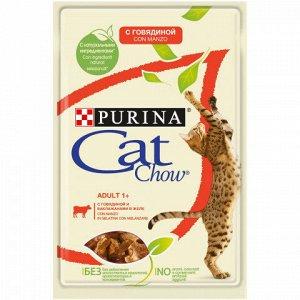 Cat Chow влажный корм для кошек Говядина+баклажаны в желе 85гр пауч АКЦИЯ!