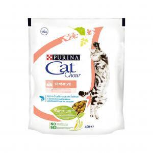 Cat Chow Sensitive сухой корм для кошек с чувствительным пищеварением Лосось 400гр АКЦИЯ!