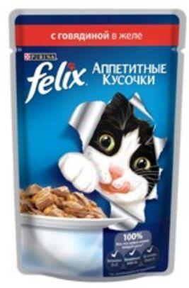 Felix Аппетитные кусочки влажный корм для кошек Говядина в желе 85гр пауч АКЦИЯ!