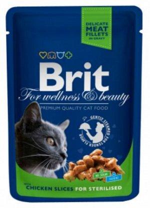 Brit Premium Chicken slices for Sterilised влажный корм для стерилизованных кошек Курица 100гр пауч
