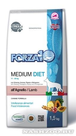 Forza10 Medium Diet Angello сухой корм для взрослых собак средних пород Ягненок. Корма для собак