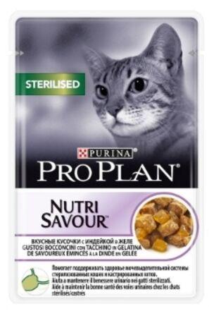 Pro Plan Sterilised влажный корм для стерилизованных кошек Индейка в желе 85гр пауч АКЦИЯ!