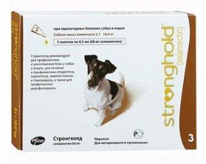Stronghold 60мг капли для щенков и собак 5-10кг от блох, клещей и гельминтов 0,5мл 1 пипетка
