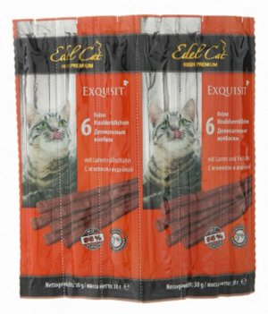 Edel Cat лакомство для кошек колбаска Ягнёнок +Индейка 1шт/5гр