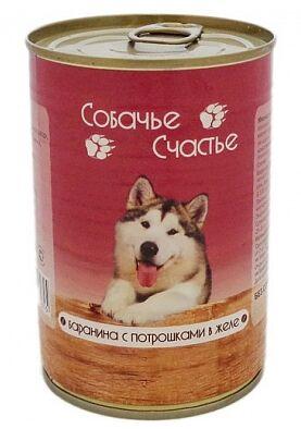 Собачье счастье влажный корм для собак Баранина с потрошками в желе 750гр консервы