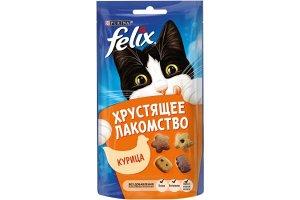 Purina Felix хрустящее лакомство для взрослых кошек с курицей, 60г