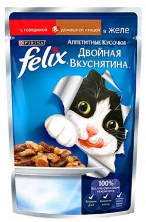 Felix Двойная Вкуснятина влажный корм для кошек Говядина+Птица в желе 85гр пауч АКЦИЯ!