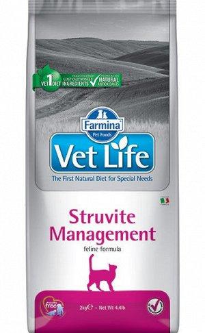 Farmina Vet Life Cat Management Struvite диета сухой корм для кошек профилактика рецидивов МКБ 2кг