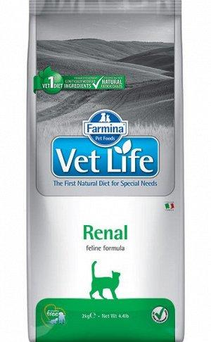 Farmina Vet Life Cat Renal диета сухой корм для кошек при почечной недостаточности 2кг