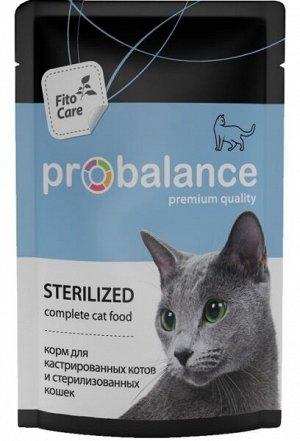 Probalance Sterilized влажный корм для кастрированных и стерилизованных котов и кошек 85 гр пауч