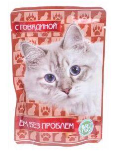 Ем без проблем влажный корм для кошек Говядина 85гр пауч
