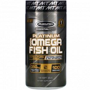 Muscletech, Platinum 100% Omega Fish Oil, Essential (серия), рыбий жир с омега-3 жирными кислотами, 100 мягких желейных капсул