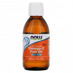 Now Foods, Омега-3 рыбий жир, со вкусом лимона, 7 жидких унций (200 мл)