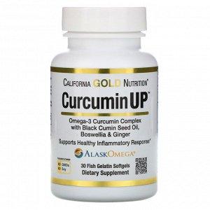 California Gold Nutrition, CurcuminUP, комплекс куркумина и омега-3, поддержка при воспалениях, 30 рыбно-желатиновых капсул