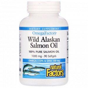 Natural Factors, Wild Alaskan Salmon Oil, 1,000 mg, 90 Softgels