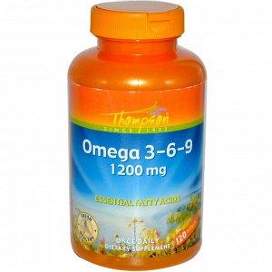 Thompson, Омега 3-6-9, 120 гелевых капсул