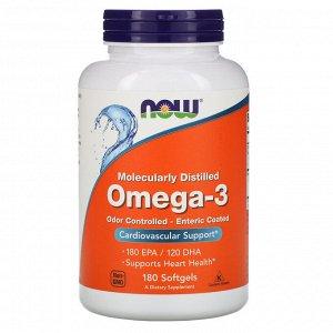 Now Foods, Омега-3, 180 мягких желатиновых капсул