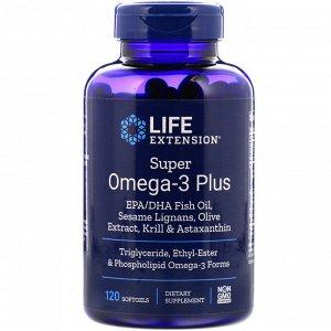 Life Extension, Супер омега-3 плюс, 120 мягких желатиновых капсул