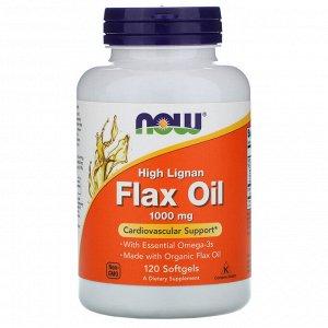 Now Foods, High Lignan Flax Oil, 1000 мг, 120 мягких желатиновых капсул