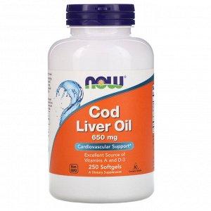 Now Foods, Cod Liver Oil, 650 мг, 250 мягких желатиновых капсул