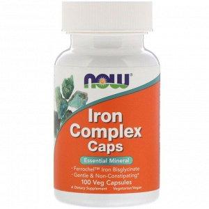 Now Foods, Капсулы с комплексом железа, 100 растительных капсул