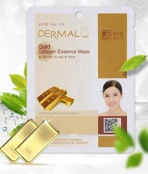 Dermal, Тканевая маска коллоидное золото Premium Gold Collagen Essence Mask,