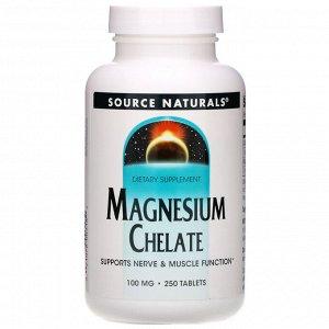 Source Naturals, Магний хелат, 100 мг, 250 таблеток
