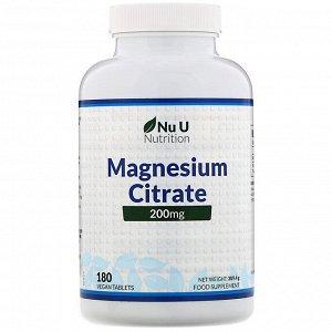 Nu U Nutrition, Цитрат магния, 200 мг, 180 растительных таблеток