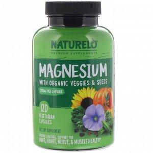 NATURELO, Магний с органическими овощами и семенами, 200 мг, 120 вегетарианских капсул