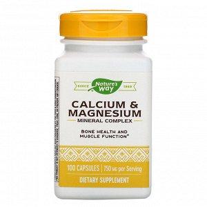 Nature&#x27 - s Way, Calcium & Magnesium Mineral Complex, 750 mg, 100 Capsules