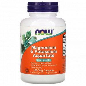 Now Foods, Аспартат магния и калия, 120 растительных капсул