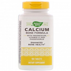 Nature&#x27 - s Way, Calcium Bone Formula with Magnesium, Vitamin D and Phosphorus, 180 Tablets