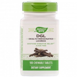 Nature&#x27 - s Way, DGL, глицирризинат солодки, 100 жевательных таблеток