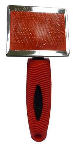 Пуходерка металлическая с резиновой ручкой мини с каплей